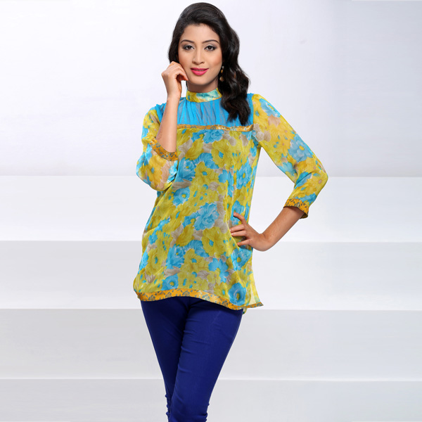 Printed Chiffon Tunic with Banaras Lace Work for Women