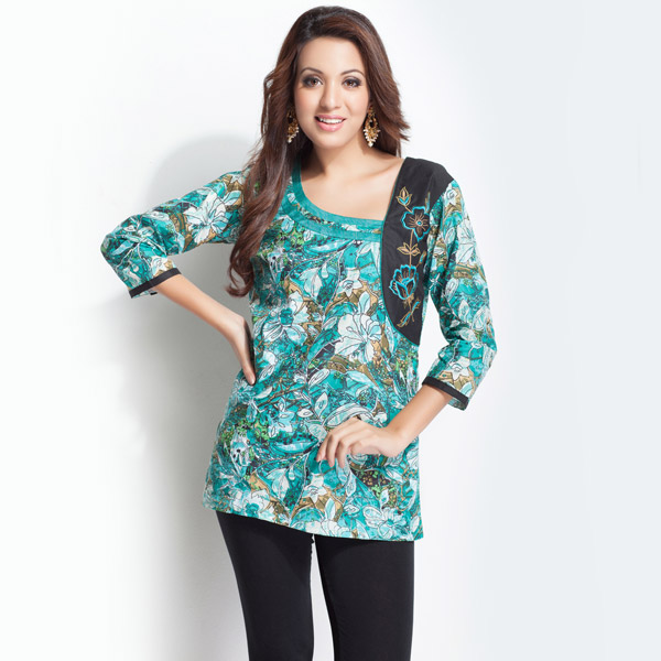 Embroidered Floral Printed Sea Green Tunic for Women