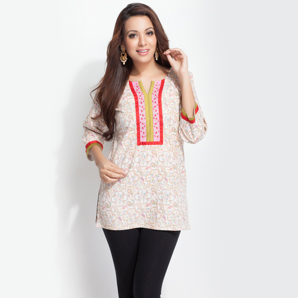 Cream Cotton Printed Tunic with Embroidered Yoke for Women