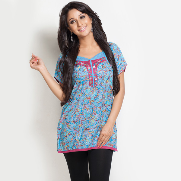 Flutter Sleeves & Embroidery Yoke Tunic for Women