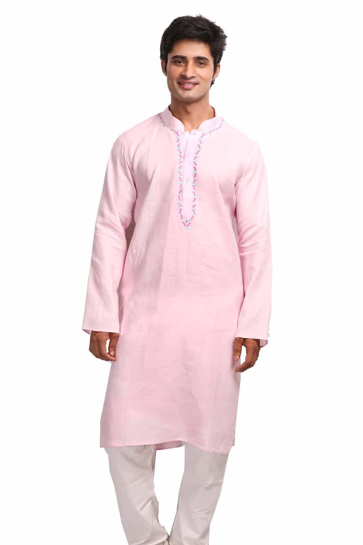 Kurtas-Lavender Blush Long Sleeves Linen Kurta with Resham Embroidery