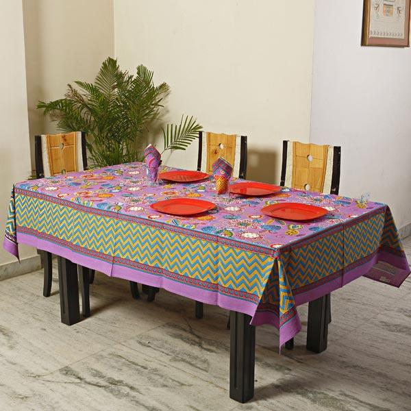 Lavender Botanical Pigment Print Cotton Table Cover Set