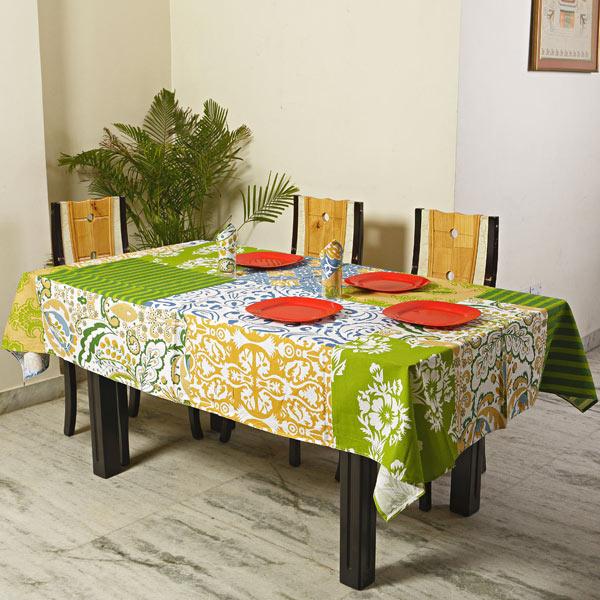 Patchwork Design Pigment Print Cotton Table Cover Set