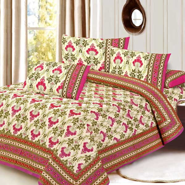 Cream Mughal Gold Print Pure Cotton Double Bedsheet Set
