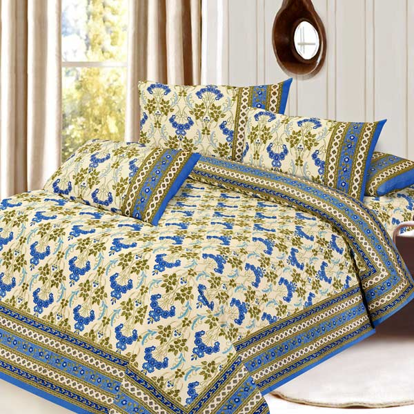 Cream & Blue Pure Cotton Double Bedsheet Set