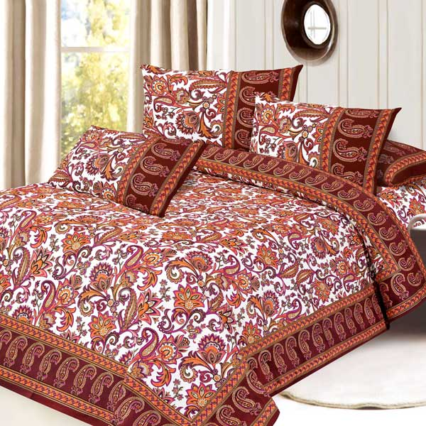 Mughal Gold Print Pure Cotton Double Bedsheet Set