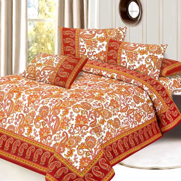 Mughal Gold Pure Cotton Double Bedsheet Set