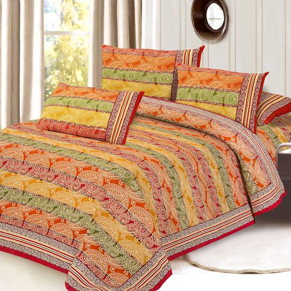 Orange & Red Pure Cotton Double Bedsheet Set