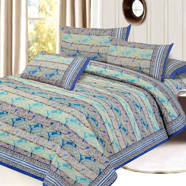 Turquoise & Blue Pure Cotton Double Bedsheet Set