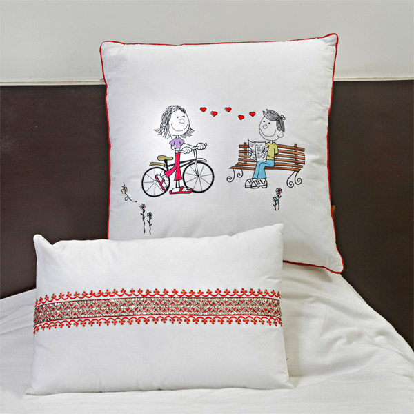 White Cotton Embroidered Cushion Cover Set