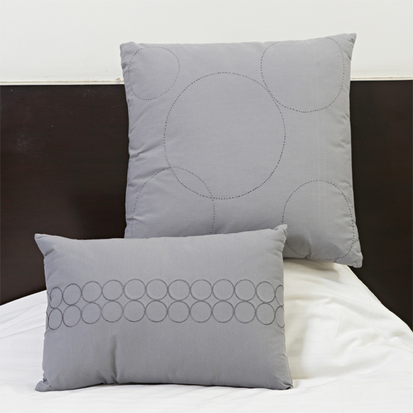 Grey Suede Finish Cotton Embroidered Cushion Cover Set