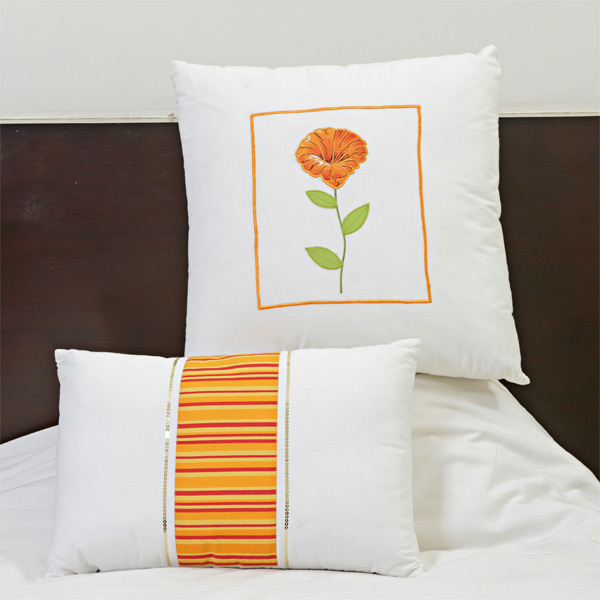 Cotton Decorative Cushion Set with Floral Print Embroidery