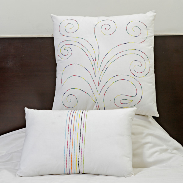 Scrolly Design Embroidered White Cotton Cushion Cover Set