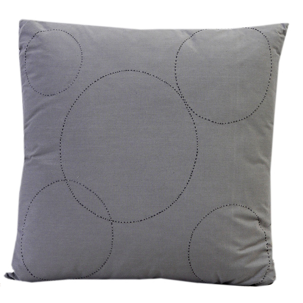 Grey Suede Finish Cotton Embroidered Cushion Cover
