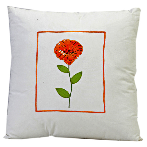 Cotton Decorative Cushion Cover with Floral Print and Filler