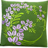 Floral Embroidered Green and Purple Cushion Cover