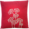 Coral Pink & Brown Embroidery Cotton Cushion Cover