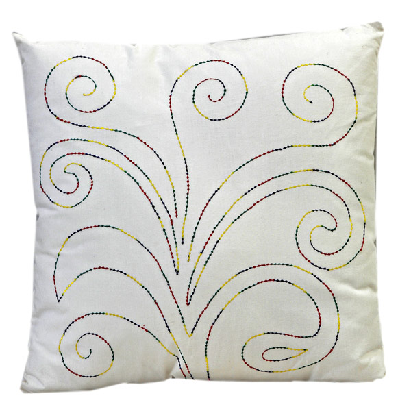 Scrolly Design Embroidered White Cotton Cushion Cover