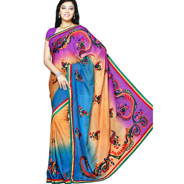 Purple and Brown shaded handwork Saree