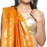 Chocolate Brown Orange Rich Gold Zari Art Silk Saree