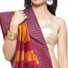 Resham work border Golden Yellow Red Art Silk Saree