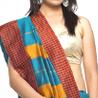 Beautiful Art Silk Saree with Checkered Border