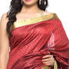 Gift Cherry Red Jacquard Silk Saree with woven border on Diwali