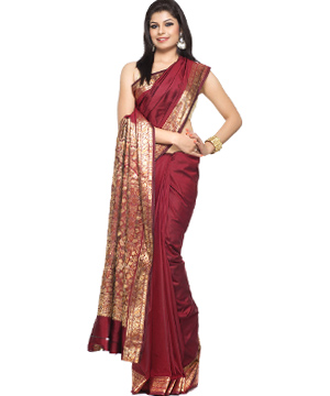 Maroon Silk Saree with Rich Resham work border