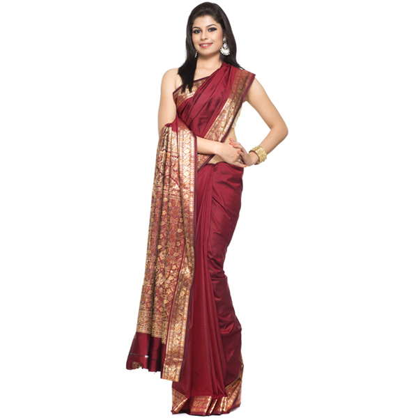 Art Silk Sarees-Maroon Silk Saree with Rich Resham work border