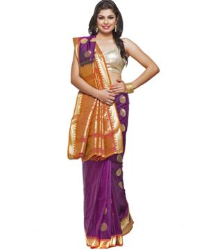 Art Silk Sarees-Violet, Orange and Gold Exquisite Silk Saree with Rich Zari Pallu