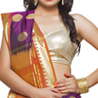 Violet, Orange and Gold Exquisite Silk Saree with Rich Zari Pallu