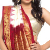 Traditional White and Maroon Pure Silk Wedding Saree