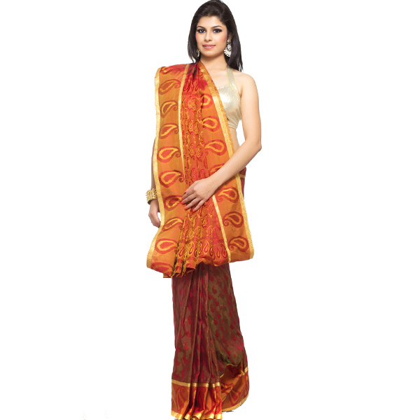 Rust Orange Jacquard Silk Saree with Resham work