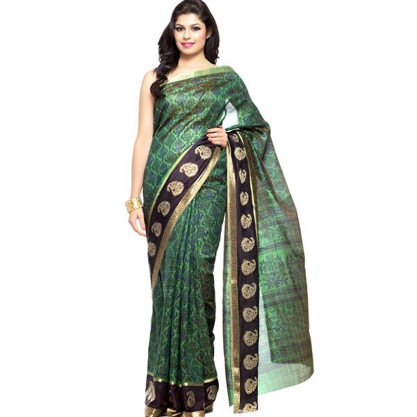 Natural Green Printed Silk saree with Zari border