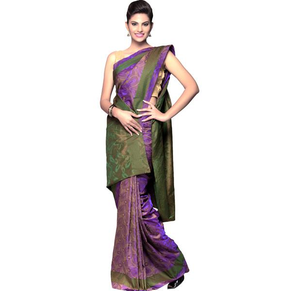 Purple Green Resham Jacquard Saree