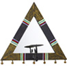 Triangle Hand Painted Wood and Mirror Candle Holder