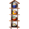Four Tier Wall Shelf with 4 Hand Painted Terracotta Pots