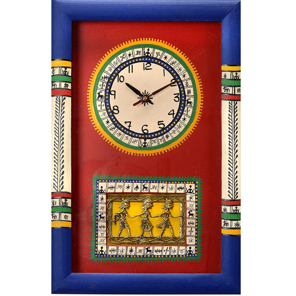 Tribal Art Hand Painted Wall Clock