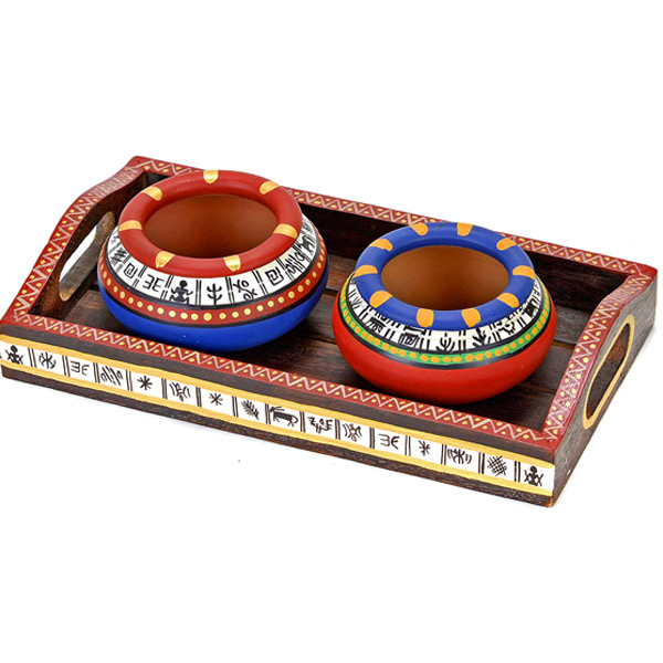 3 Hand Painted Terracotta Bowls with Tribal Motifs and Tray