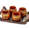 4 Terracotta Tumblers with Tribal Motifs and Tray