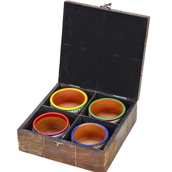 Terracotta Bowl Set with Tribal Art Wooden Box