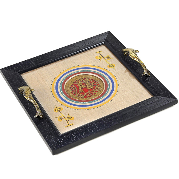 Tribal Art Dhokra Work Wooden Tray