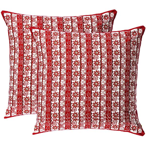 Red and Orange Floral Striper Print Cotton Cushion Cover Set
