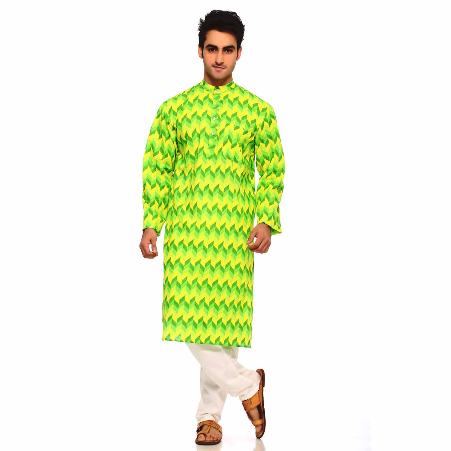Kurtas-Green and Yellow Rapid Print Design Pure Cotton Kurta
