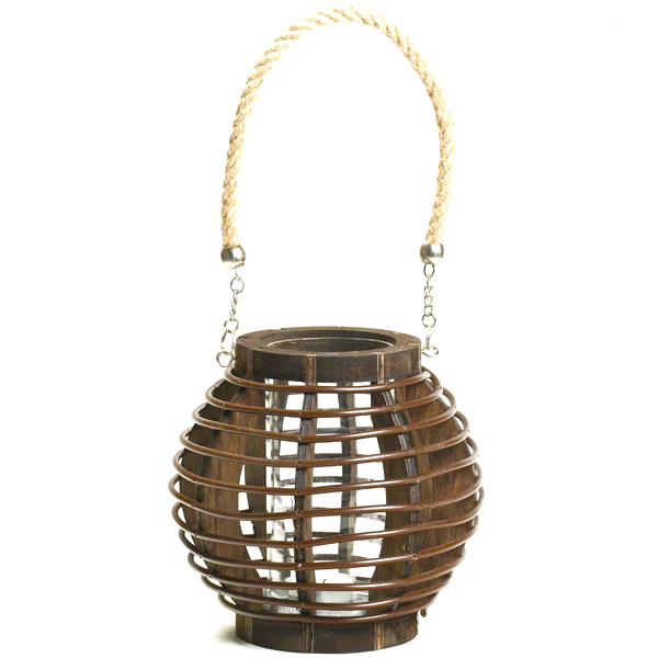 Brown Basket Design Lantern with Rope Handle