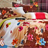 Retro Floral Print Cotton Bedsheet with Pillows Cases