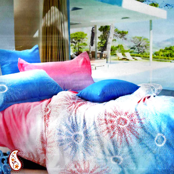 Pink and Blue Tie and Dye Design Pure Cotton Bedsheet Set