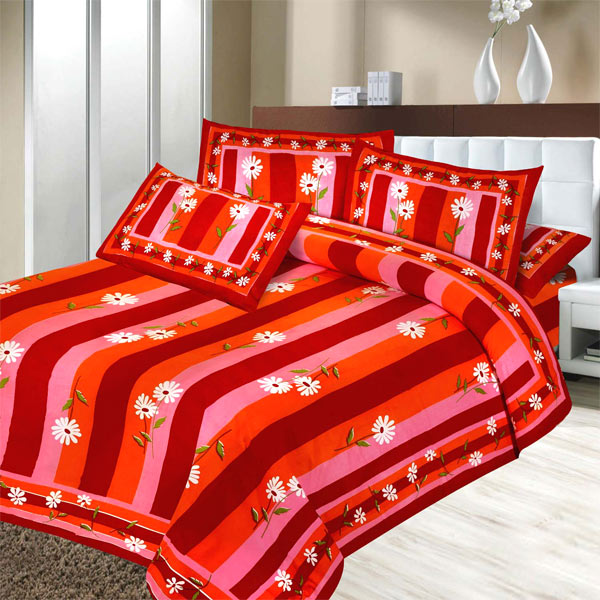 Pure Cotton Double Bedsheet Set with Multi-colored Stribes