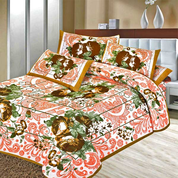Pure Cotton Floral Print Double Bedsheet Set with Pink Texture