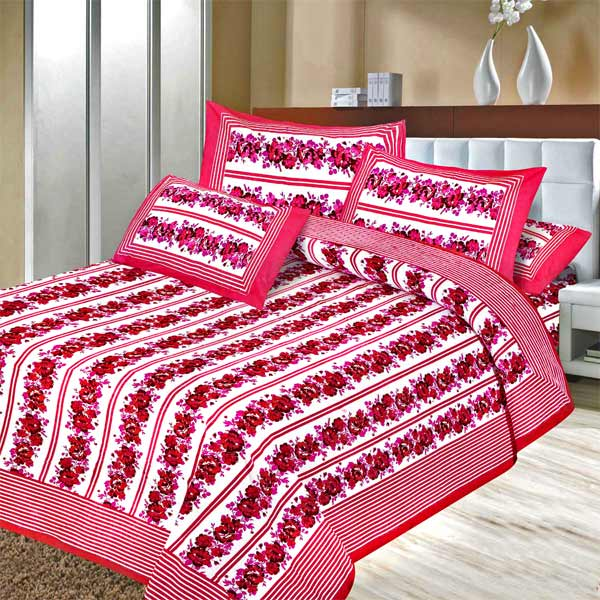 Pure Cotton Lavendar Pink Floral Double Bedsheet Set